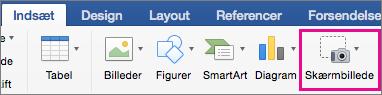 Office 2016 til Mac-skærmbillede-funktion