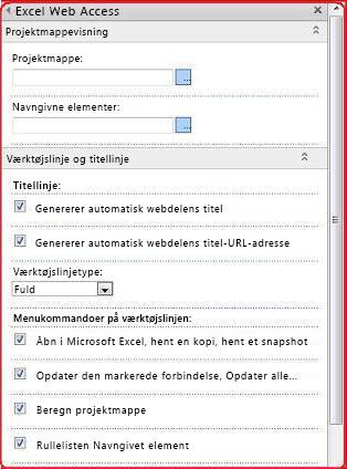 Vælg og angiv egenskaber for Excel Web Access-webdelen i værktøjsruden.