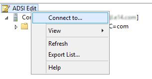"""Skærmbillede, der viser trinnene til at vælge """"ADSI Rediger"""" og """"Forbind til""""."""