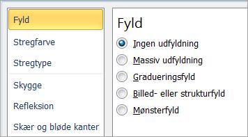 Vælge Ingen udfyldning for et tekstfelt
