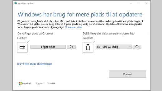 Windows har brug for mere plads til at opdatere meddelelse