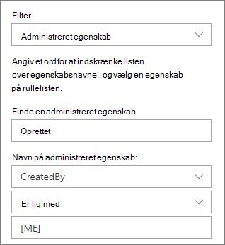 Fremhævede indhold med administreret egenskabsfilter