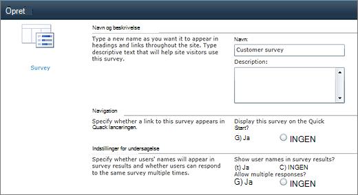Siden Indstillinger for SharePoint 2010-undersøgelse
