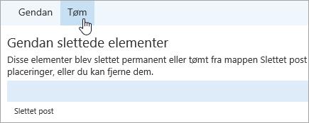 Et skærmbillede af knappen Tøm.