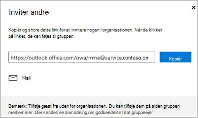 Klik på Kopiér eller mail for at integrere linket Deltag i en mail