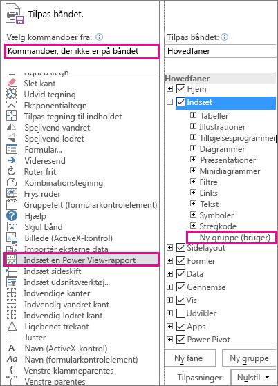 Feltet Tilpas båndet i Excel