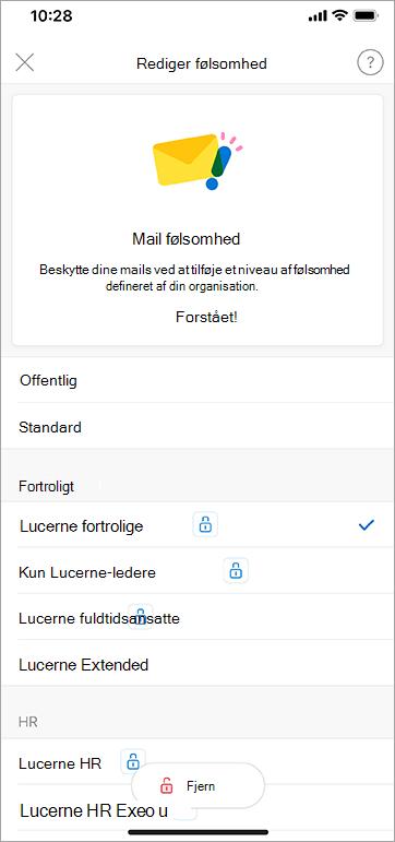 Skærmbillede af følsomhedsmærkater i Outlook til iOS