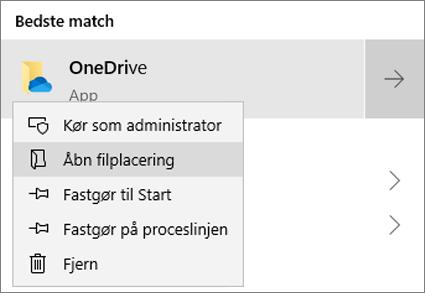 Et skærmbillede, der viser genvejsmenuen i menuen Start med Åbn filplacering markeret.