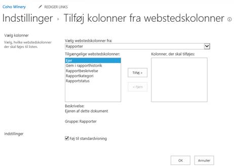 Tilføj kolonner fra webstedskolonner