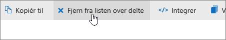 Et skærmbillede, der viser knappen Fjern fra delt liste på OneDrive.com.