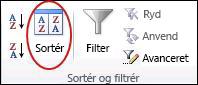 Kommandoen Sortér i gruppen Sortér og filtrer under fanen Data i Excel