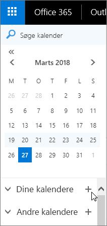 Et skærmbillede viser områderne Dine kalendere og Andre kalendere i navigationsruden Kalender.