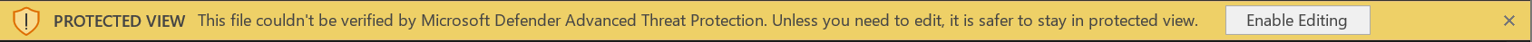 Skærmbillede af MDATP Business bar, hvis der opstår en fejl, mens du scanner filen