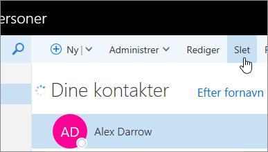 Skærmbillede af knappen Slet under Outlook-navigationslinjen.
