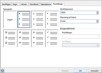 Fanen Punkttegn med forskellige punkttegnstypografier i Visio.