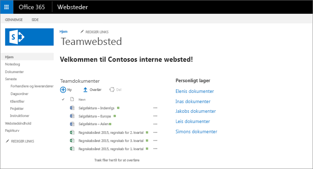Et teamwebsted med links til personlige OneDrives.
