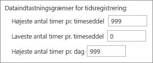 Begrænsninger for tidsregistrering af dataposter