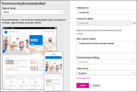 Oprette et SharePoint-kommunikationswebsted