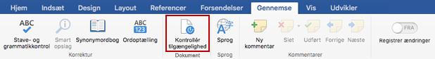 Skærmbillede af båndet Gennemse med ikonet for Kontrollér tilgængelighed