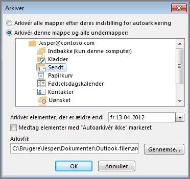 Dialogboksen Arkiver