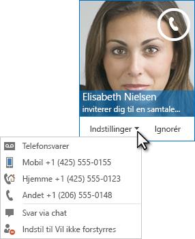 Skærmbillede af besked om lydopkald med kontaktens billede i øverste højre hjørne
