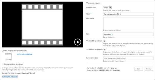 Egenskabsside for video