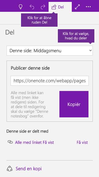 Skærmbillede af deling af en enkelt side i OneNote