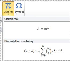 Forudformaterede ligninger på listen Ligning