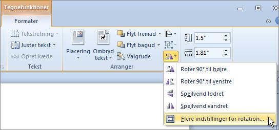 Flere indstillinger for rotation på menuen Rotation