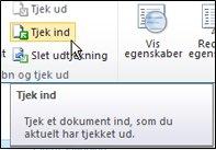 SharePoint-båndet med markøren over ikonet Tjek ind