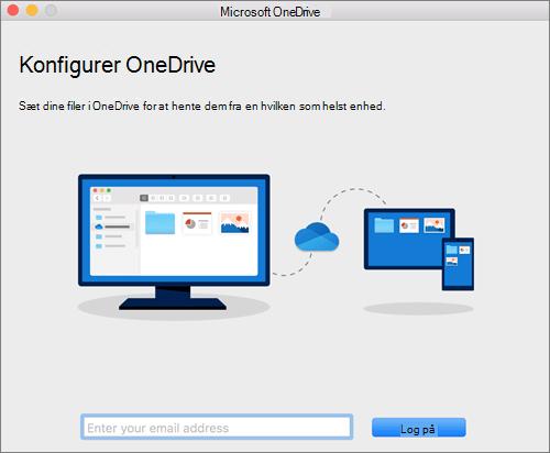 Skærmbillede af den første side i OneDrive-konfigurationen