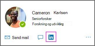 Visning af LinkedIn-ikon på profilkort