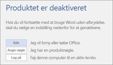 Skærmbillede der viser fejlmeddelelsen Produktet er deaktiveret