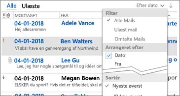 Liste over tilgængelige filtre til sortering af meddelelser