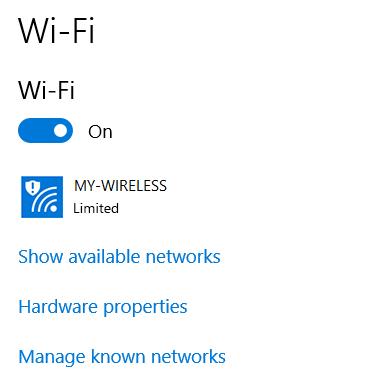 Netværket har begrænset forbindelse