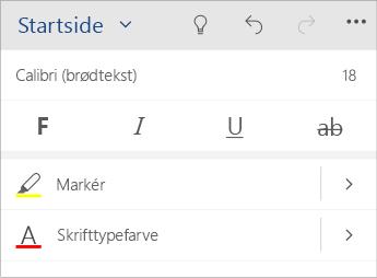 Skærmbillede af menuen til tekstformatering i Word Mobile.