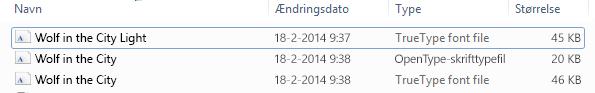 Listen over skrifttyper i en fil, der ikke er ZIP-komprimeret.