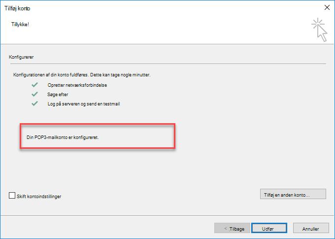 Outlook tilføjer en konto som POP
