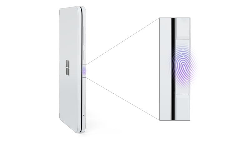 Surface Duo med fingeraftrykslæser kaldt ud