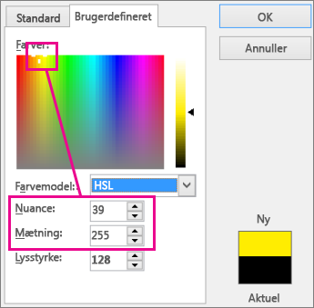Valg i rektanglet Farver angiver nuance og mætning