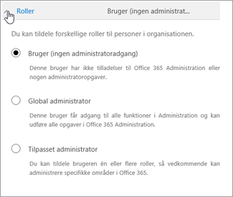 Udvid Roller, hvis du vil tildele brugeren administratorrettigheder.