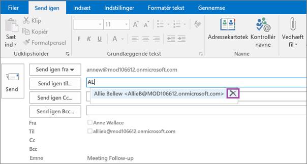 Skærmbillede viser indstillingen Send igen for en mail. I feltet Send igen giver funktionen Autofuldførelse mailadressen for modtageren baseret på de første par bogstaver, der er skrevet af modtagerens navn.