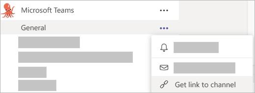 Når du klikker på Flere indstillinger på en kanal, kan du vælge Hent link til kanal.