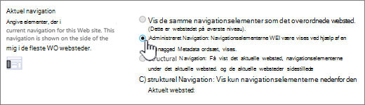 Aktuel navigationssektion med administreret navigation, der er markeret