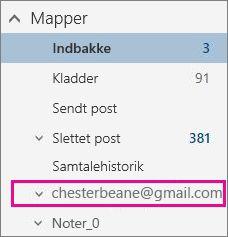 Mappeliste med Gmail-konto fremhævet
