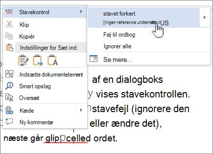 Ved hjælp af Højreklik på menuer til at rette stavning