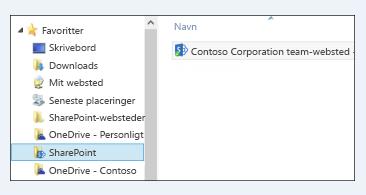 Finde synkroniserede webstedsbiblioteker i SharePoint-mappen under Favoritter
