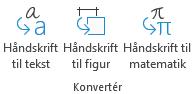 Knapperne til konvertering af håndskrift under fanen tegning