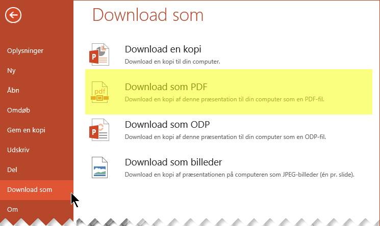 Vælg Filer > Hent som > Download som PDF-fil