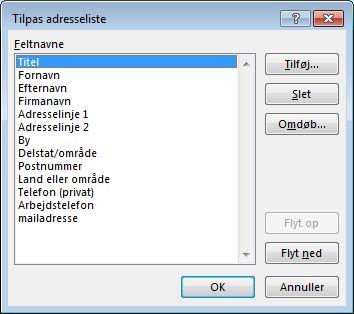 Dialogboksen Tilpas adresseliste